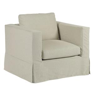 Modern Slipcover Chair with Kick Pleat Skirt