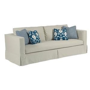 Modern Slipcover Sofa with Kick Pleat Skirt