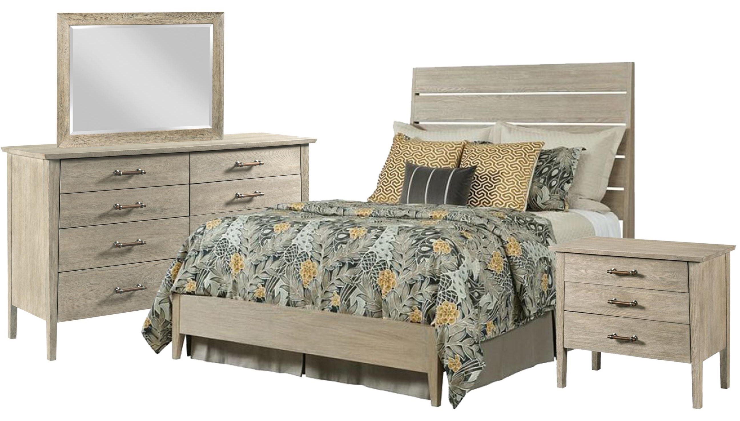 Symmetry Queen Bed, Dresser, Mirror, Nightstand by Kincaid Furniture at Johnny Janosik
