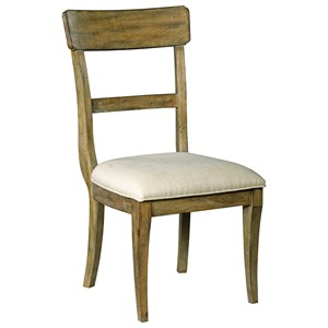 Solid Wood Slat Back Dining Chair with Performance Fabric Seat