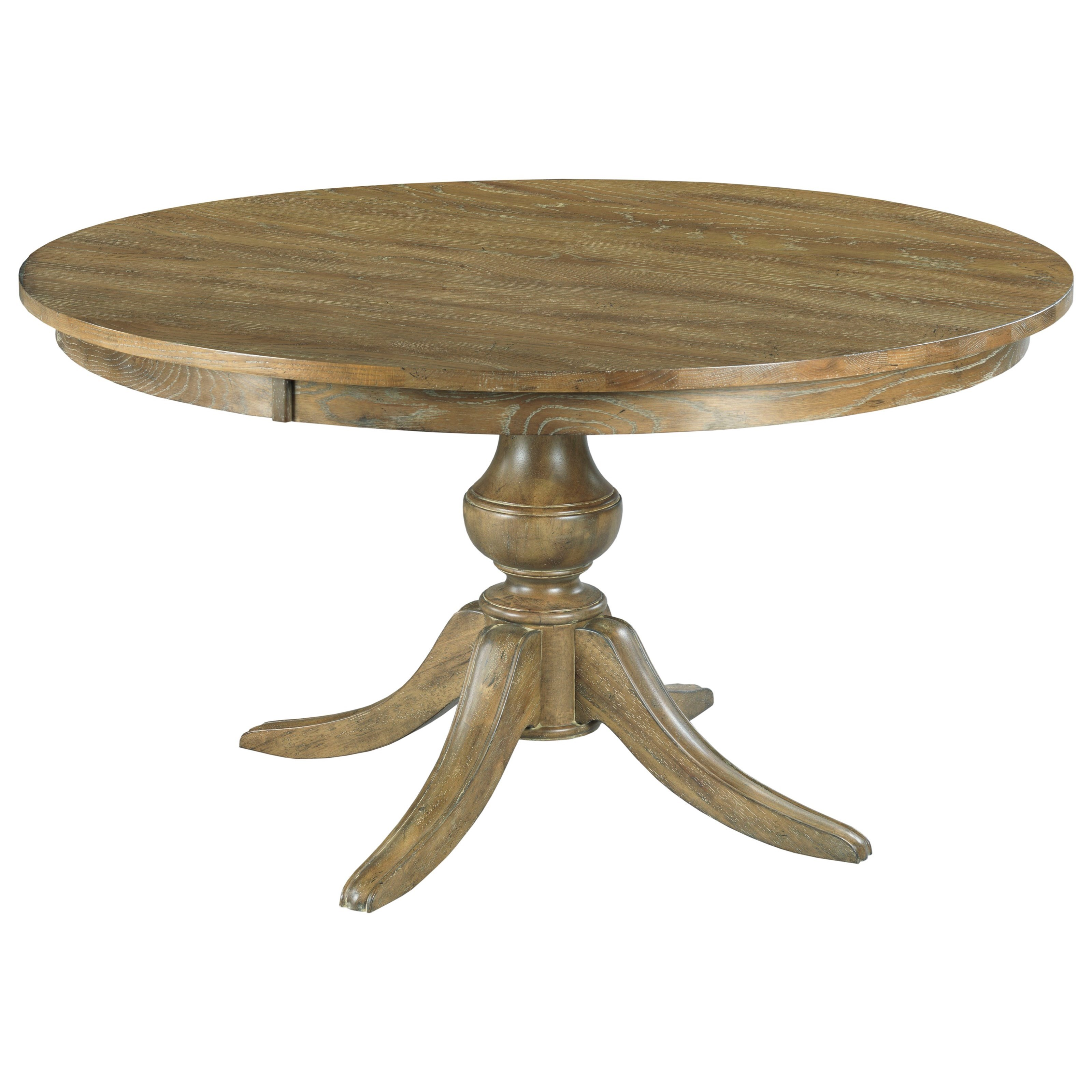 """The Nook 44"""" Round Dining Table w/ Wood Base by Kincaid Furniture at Northeast Factory Direct"""
