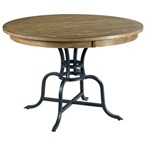 "44"" Round Solid Wood Dining Table with Rustic Metal Base"
