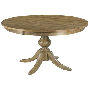 "54"" Round Solid Wood Dining Table with Wood Pedestal Base"