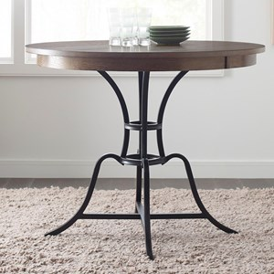 "44"" Round Solid Wood Counter Height Table with Rustic Metal Base"
