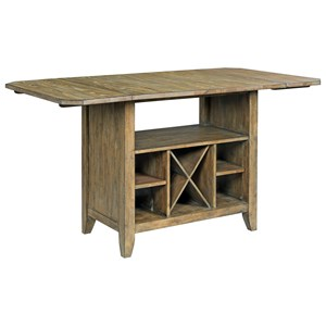 Solid Wood Kitchen Island with Protected Top and Wine Storage