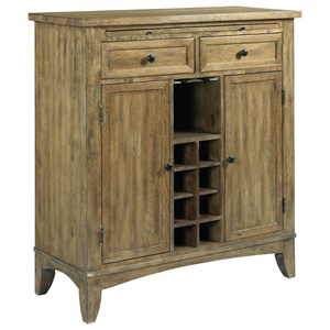 Solid Wood Wine Server with Adjustable Dining Storage and Storage for Wine Bottles and Glasses