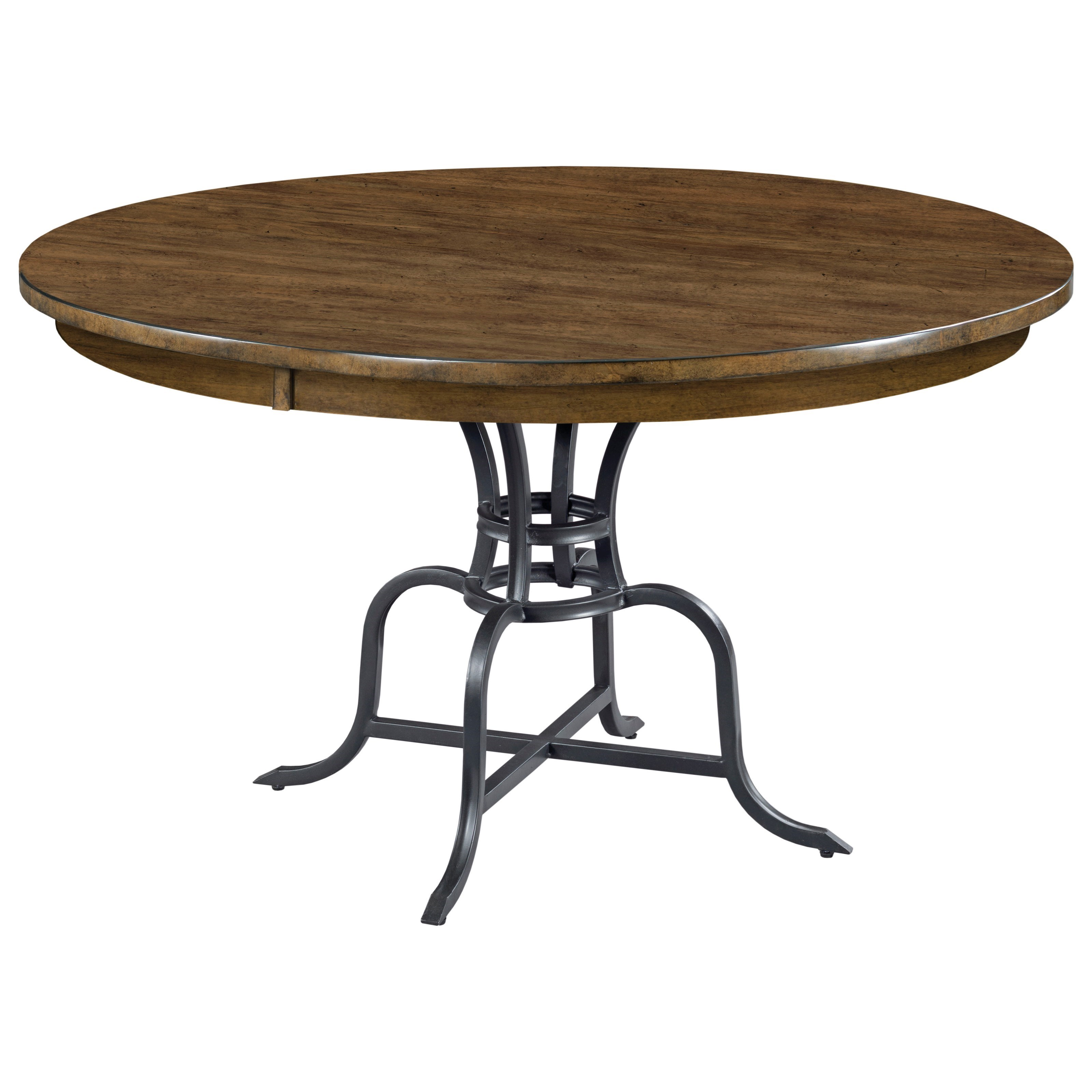 """The Nook 54"""" Round Dining Table  w/ Metal Base by Kincaid Furniture at Johnny Janosik"""