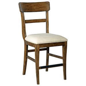 Solid Wood Counter Height Stool with Performance Fabric Seat
