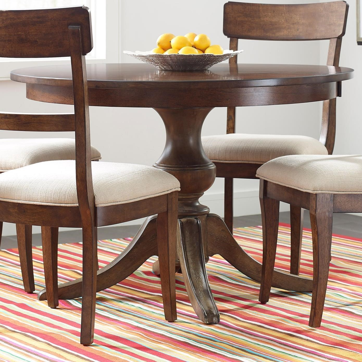 """The Nook 44"""" Round Dining Table w/ Wood Base by Kincaid Furniture at Johnny Janosik"""