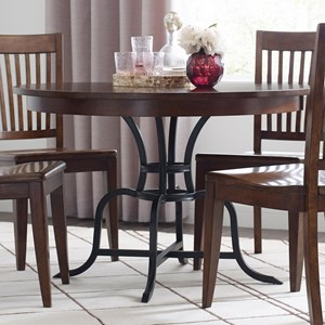"""44"""" Round Solid Wood Dining Table with Rustic Metal Base"""
