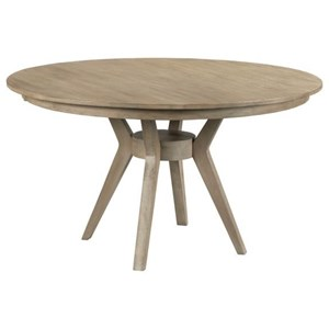 """44"""" Round Solid Wood Dining Table with Modern Tapered Wood Base"""
