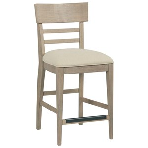 Solid Wood Modern Slat Back Counter Chair