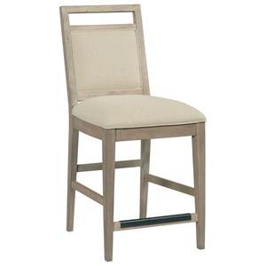 Upholstered Solid Wood Counter Height Chair