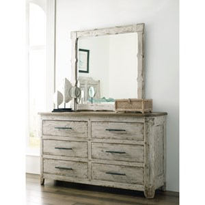 Kennewick Six Drawer Dresser and Mirror Set with Removable Jewelry Tray