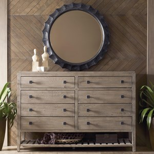 Rustic Linville Eight Drawer Dresser and mirror set with Removable Jewelry Tray