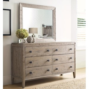 Braswell Six Drawer Dresser and Mirror Set with Adjustable Levelers