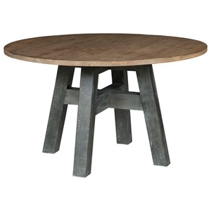 """Layton 64"""" Round Dining Table with Two-Tone Finish"""