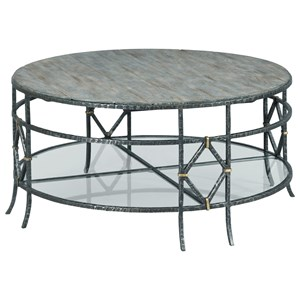 Monterey Round Coffee Table with Lower Glass Shelf