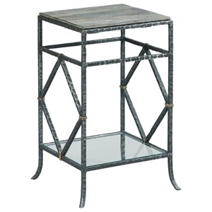 Monterey End Table with Glass Lower Shelf