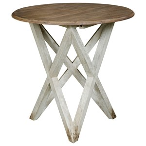 Colton Round Lamp Table with Two-Tone Finish