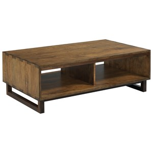 Carpenter Modern Craftsman Solid Wood Cocktail Table with Two Shelves