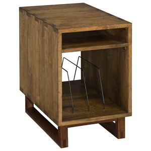 Bookbinder Modern Craftsman Chairside Table with Metal Magazine Rack and Pull-Out Shelf