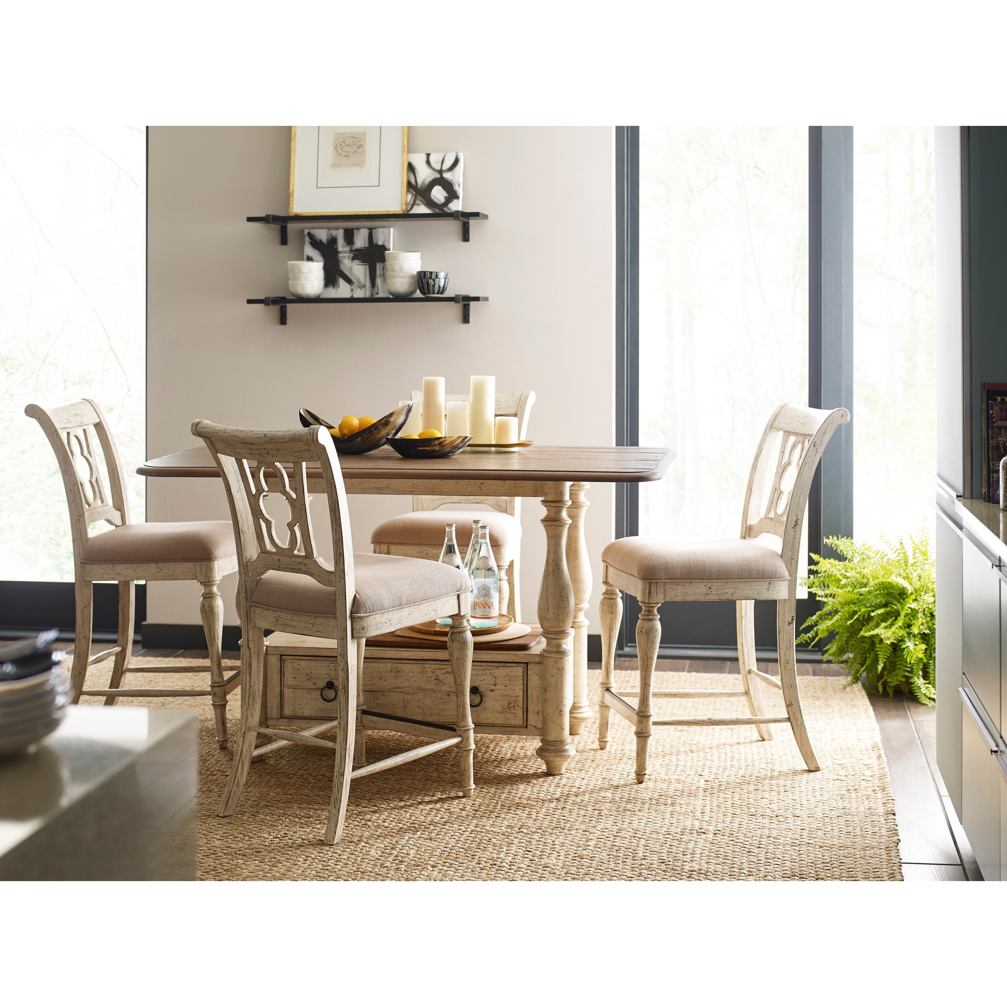 Weatherford 5-Piece Kitchen Island and Chair Set by Kincaid Furniture at Jacksonville Furniture Mart