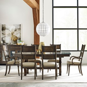 Seven Piece Dining Set with Extendable Trestle Table and Post Chairs