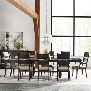 Nine Piece Dining Set with Extendable Trestle Table and Post Chairs