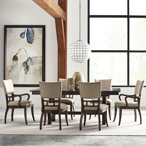 Seven Piece Dining Set with Extendable Trestle Table and Tweed Chairs
