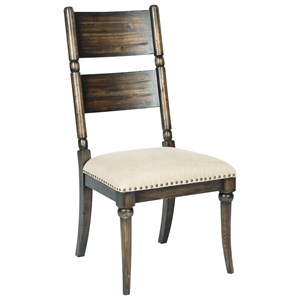 Post Side Chair with Upholstered Seat and Nailhead Trim