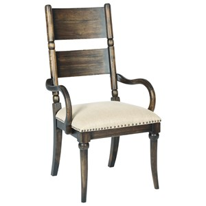 Post Arm Chair with Upholstered Seat and Nailhead Trim
