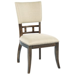 Tweed Upholstered Side Chair with Nailhead Trim