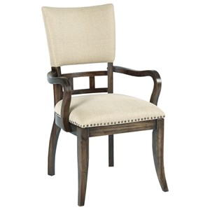 Tweed Upholstered Arm Chair with Nailhead Trim