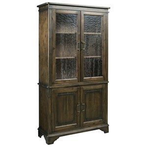 Vintage China Cabinet with Seeded Glass Doors and Touch Lighting