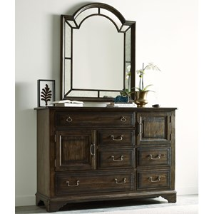 Vintage Bureau with Palladian Mirror Set