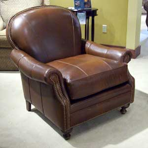 "35"" Tight Back Leather Chair with Nailhead Trim"