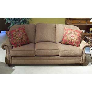 """88"""" Semi-Attached Back Sofa with Turned Wood Legs"""