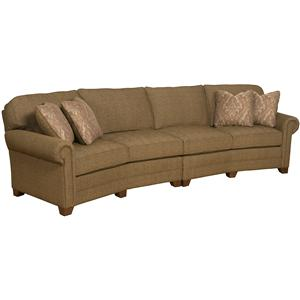2 Piece Conversation Sofa with Exposed Wood Legs