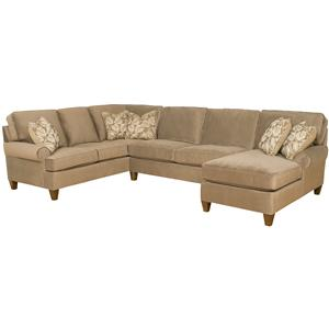 Customizable 3 Piece Sectional Sofa with Sock Arms and Tapered Feet