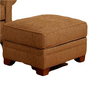 Upholstered Ottoman with Wood Feet