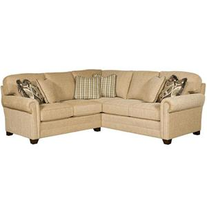 Transitional Sectional with Sock Rolled Arms and Tapered Block Feet