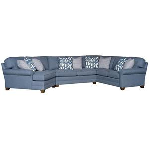 Transitional Sectional with Tapered Block Feet and Sock Rolled Arms