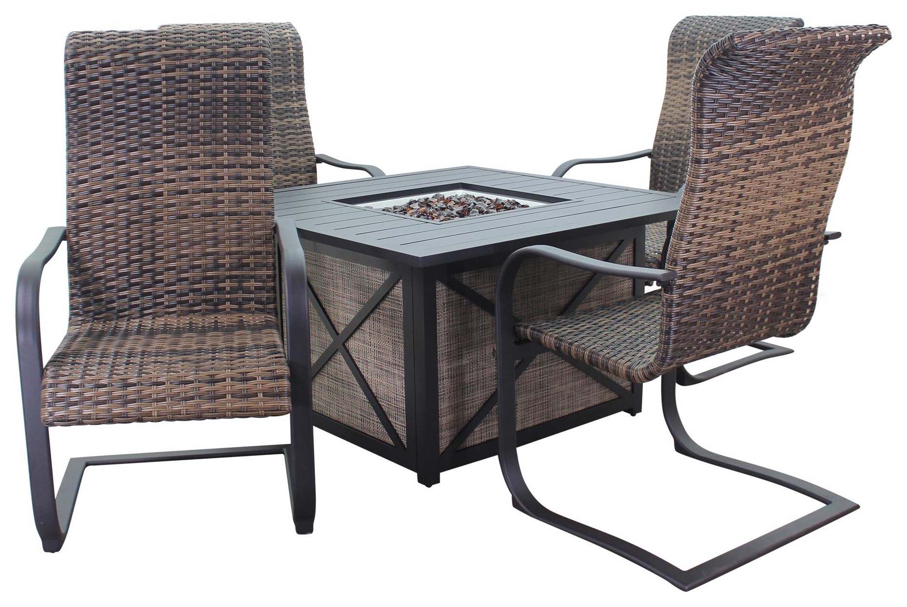 Portside Woven Firepit and 4 Chairs by Kingston Casual at Johnny Janosik