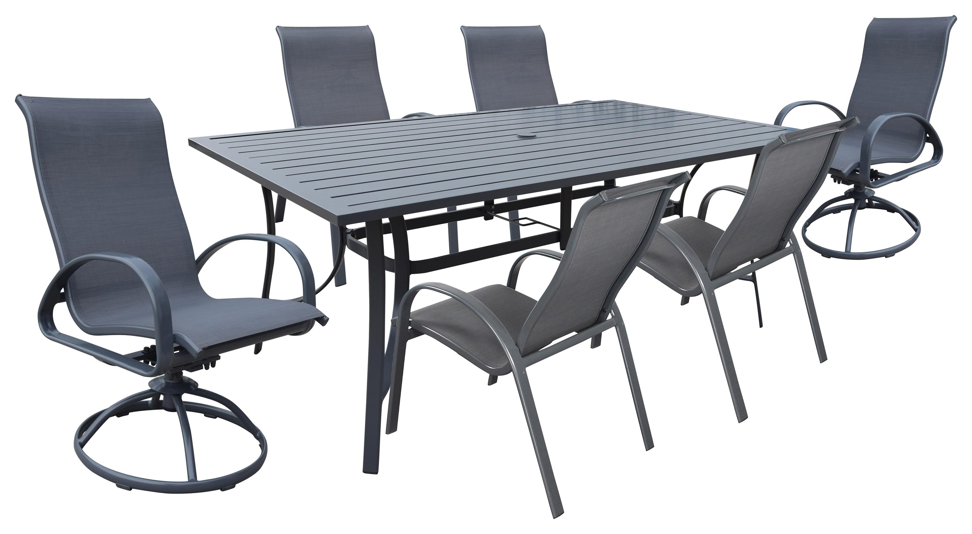 Portside Sling Table, Chair, Swivel Chair by Kingston Casual at Johnny Janosik