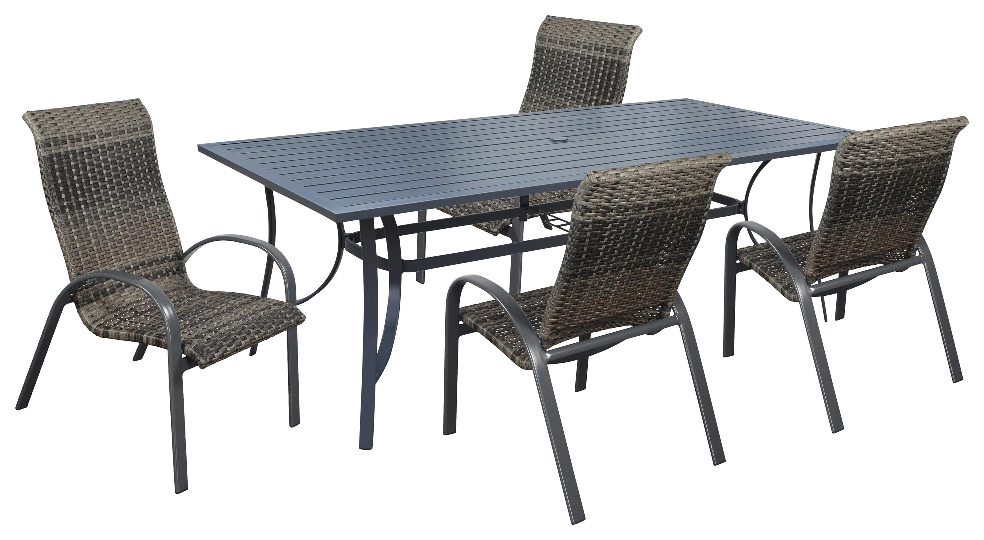 Portside Wicker Table and 4 Chairs by Kingston Casual at Johnny Janosik