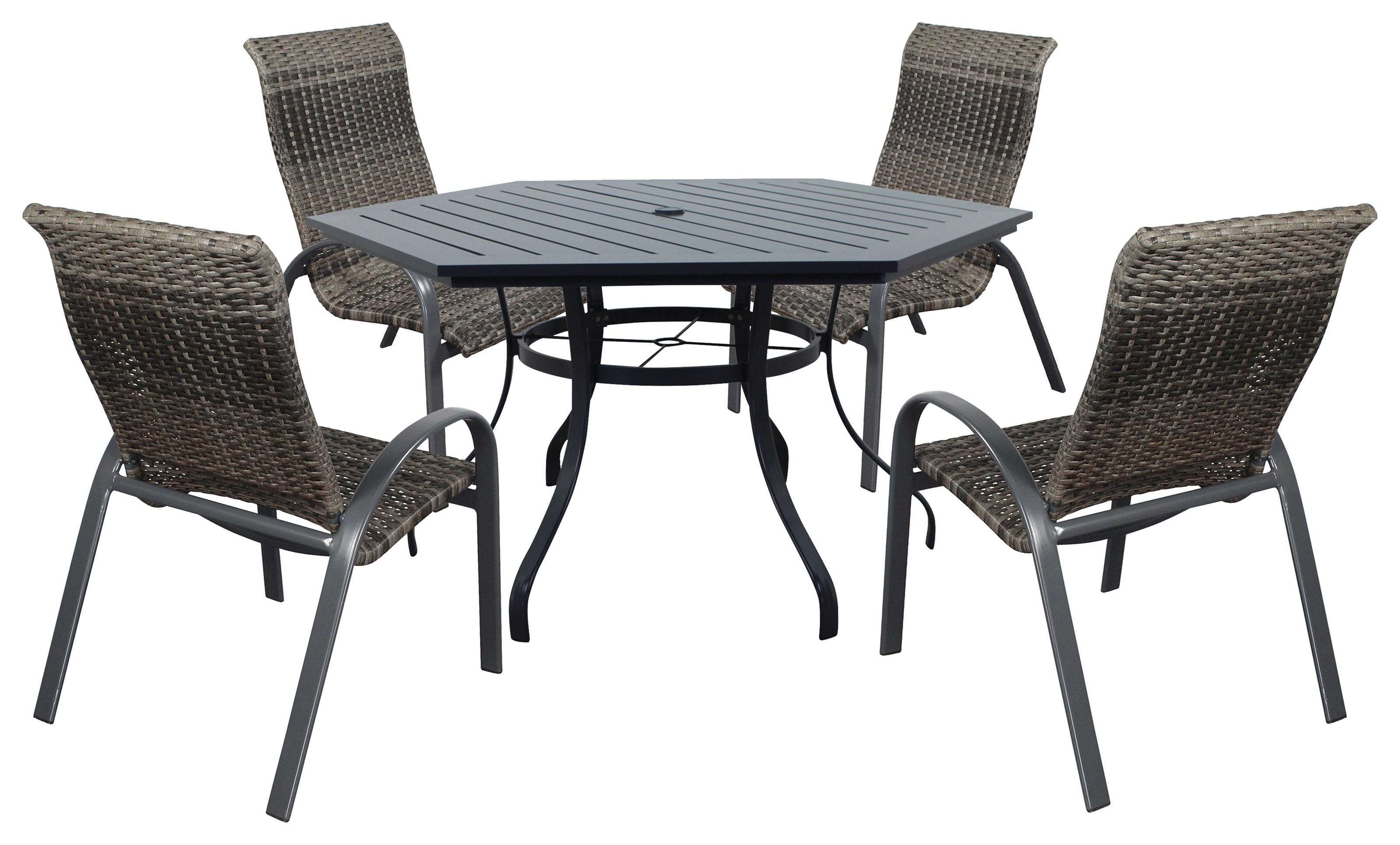 Portside Woven 60 Inch Hex Table And Chairs by Kingston Casual at Johnny Janosik