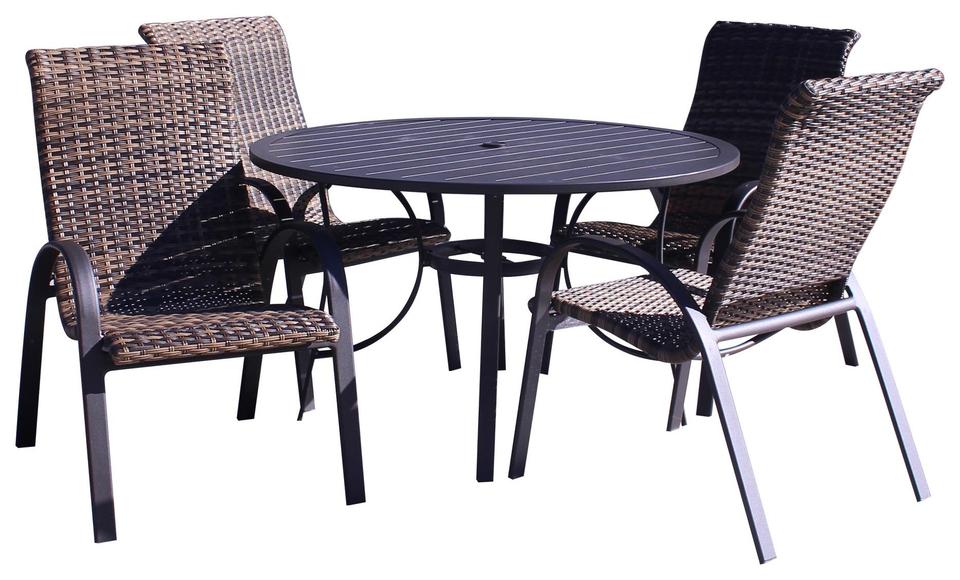 Portside Woven Table and 4 Chairs by Kingston Casual at Johnny Janosik