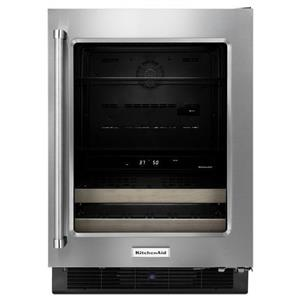 "KitchenAid Compact Refrigeration 24"" Stainless Steel Beverage Center"