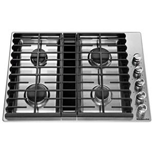 "KitchenAid Gas Cooktops 30"" 4 Burner Gas Downdraft Cooktop"